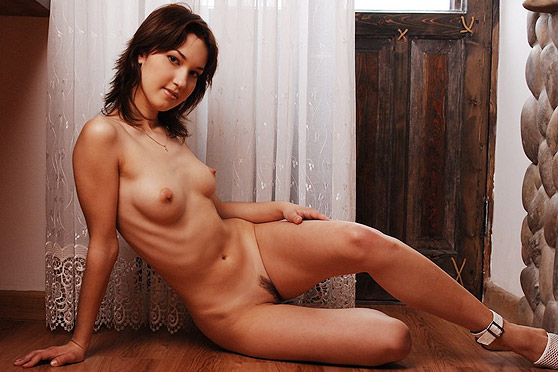 Alena J: Alena, by A Le Favori, denim cut-offs, natural, relaxed erotica