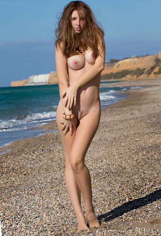 Irina K: Bregdet, by Ivan Harrin nude girl on a blustery beach