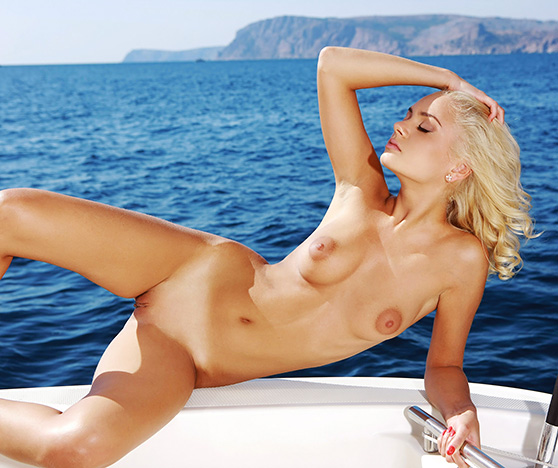 Sabrina D: Pelagos, by Leonardo, blonde super-beauty onboard a boat